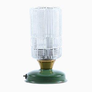 Lampada da tavolo in vetro pressato e metallo, anni '70