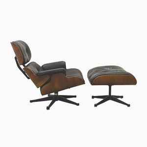 1. Auflage Sessel & Fußhocker von Ray & Charles Eames für Herman Miller, 1950er