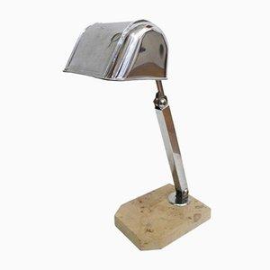 Lampe de Bureau Beige en Marbre & Métal Chromé avec Tige Coulissante, 1930s