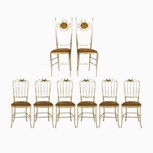 Chaises Chiavari en Laiton par Giuseppe Gaetano Descalzi, 1950s, Set de 8