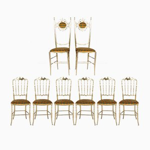 Chiavari Brass Chairs by Giuseppe Gaetano Descalzi, 1950s, Set of 8
