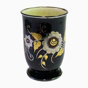 Vase Noir avec Décoration Florale de Boch La Louvière, 1920s