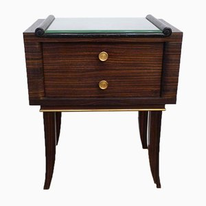 Macassar Veneered Nightstand with Two Drawers & Beveled Glass, 1930s
