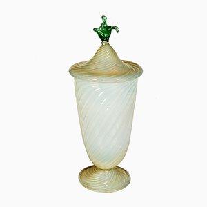 Vaso grande vintage in vetro di Murano con coperchio