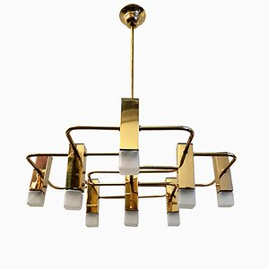 Brass Nine Point Chandelier by Gaetano Sciolari for Boulanger, 1975