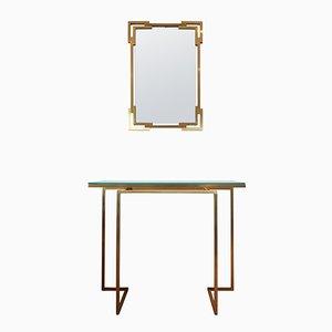 Specchio e consolle in ottone di Guy Lefevre per Maison Jansen, 1975