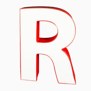 Vintage German Letter R Sign, 1970s