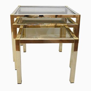 Square Gilded-Metal & Glass Nesting Tables, 1970s