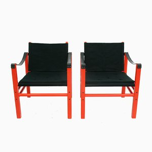 Vintage Safari Armchairs, 1980s, Set of 2