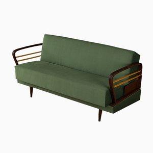 Sofá cama verde con estructura en dos tonos, años 50