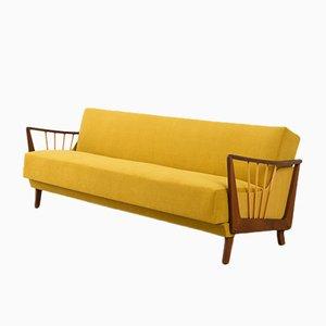 Sofá cama de haya con tapicería mostaza, años 50