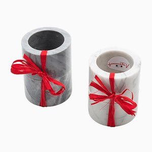 Rond de Serviette en Marbre Gris par FiammettaV Home Collection, Set de 2