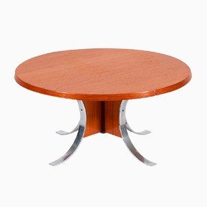 Danish Space Age Teak and Metal Coffee Table, 1960s