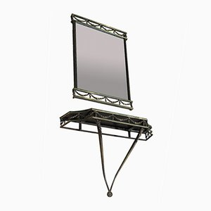 Italian Wall Mirror with Console, 1900s