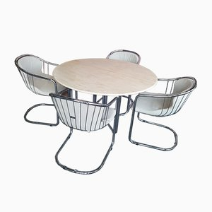 Mid-Century Dining Table and Cantilever Chairs in Tubular Steel