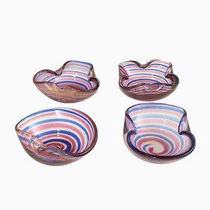Bunte Murano Glas Aschenbecher von Fratelli Toso, 1950er, 4er Set