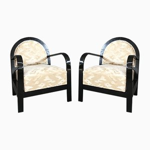 Italian Art Deco Armchairs, 1940s, Set of 2