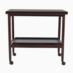 Danish Mahogany Extendable Serving Cart by Borge Mogensen for Fredericia, 1960s