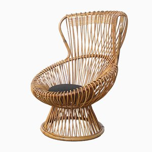 Vintage Wicker Margherita Chair with Cushion by Franco Albini for Bonacina