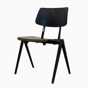 S16 Stackable Industrial Wenge Dining Chair from Galvanitas, 1960s