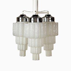 Lampada da soffitto in metallo e vetro, anni '60