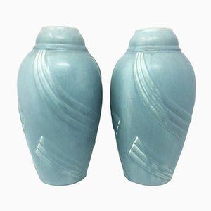 French Art Deco Ceramic Vases, 1930s, Set of 2