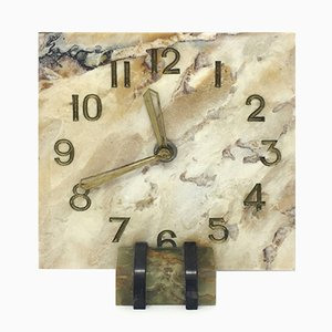 French Art Deco Marble Table Clock, 1930s