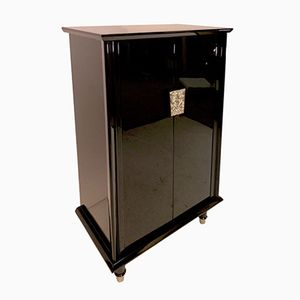 French Art Deco Black Lacquered Bar Cabinet, 1930s