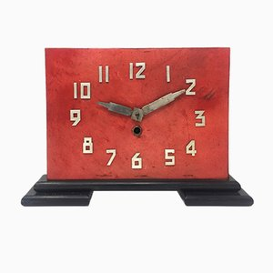 French Art Deco Red Parchment Table Clock, 1930s