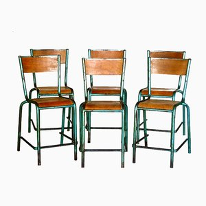 Vintage French Industrial Design Chairs, Set of 6