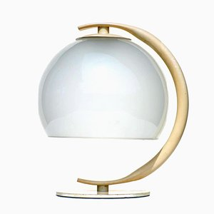 Italian Metal & Frosted Glass Table Lamp, 1960s
