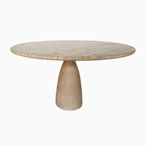Round Finale 1790 Dining Table in Solid Travertine by Peter Draenert, 1970s