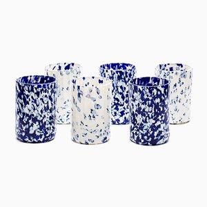 Bicchieri Macchia su macchia color avorio e blu di Stories of Italy, set di 6