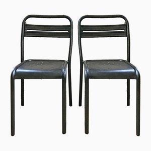 Chaises de Bistro Vintage Industriel en Métal, Set de 2