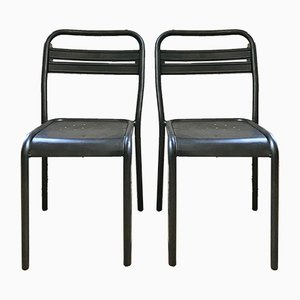 Vintage Industrial Metal Bistro Chairs, Set of 2