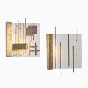 Quadri Luminosi 575 & 576 Wall Lights by Gio Ponti for Lumi, 1960s, Set of 2
