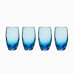 Verres Dattero Aquamarine par Stories de Italy, Set de 4