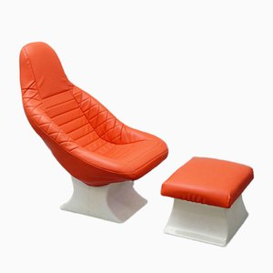 Space Age Fiberglass Lounge Chair with Pouf, 1970s