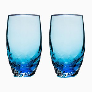 Verres Dattero Aquamarine par Stories de Italy, Set de 2