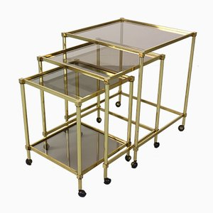 French Brass Nesting Tables with Glass Top, 1950s, Set of 3