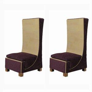 Chaises d'Appoint en Parchemin, Laiton & Chenille Violet, 1950s, Set de 2