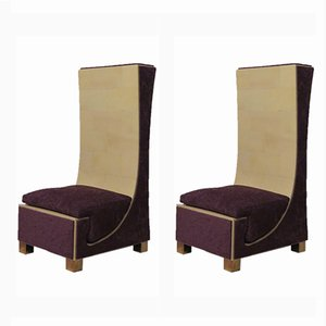 Italian Parchment, Brass & Purple Chenille Side Chairs, 1950s, Set of 2