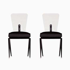 Französische Hartglas Stühle, 1950er, 2er Set