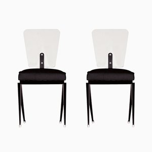 French Tempered Glass Chairs, 1950s, Set of 2