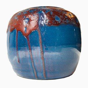 Jarrón danés de cerámica esmaltada en rojo sangre y azul llama, 1936