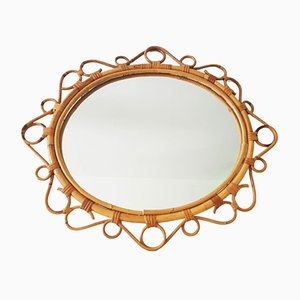 French Saint Tropez Riviera Rattan Sunburst Mirror, 1950s