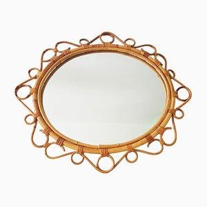 Specchio Saint Tropez vintage in vimini, Francia, anni '50
