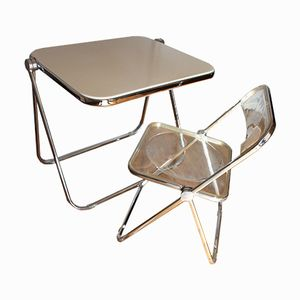Platone Foldable Chair & Table by Giancarlo Piretti for Castelli, 1970s
