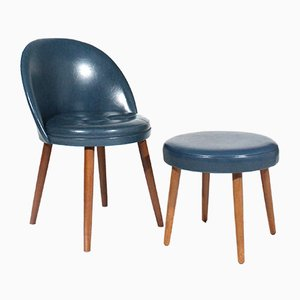 Mid-Century Danish Cocktail Chair and Stool, Set of 2