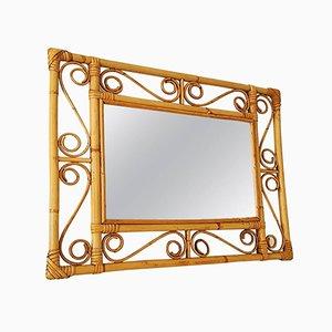 Specchio con cornice in vimini, Francia, 1955
